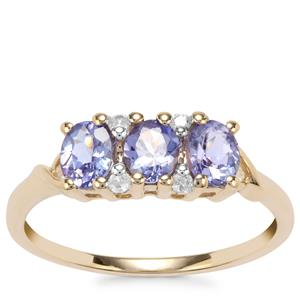 AA Tanzanite Ring with White Zircon in 10K Gold 1cts
