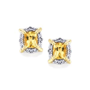 Imperial Topaz & White Zircon 10K Gold Earrings ATGW 1.09cts