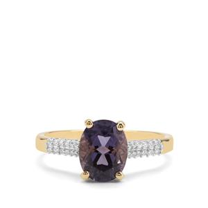Montezuma Blue Quartz & White Zircon 9K Gold Ring ATGW 1.96cts