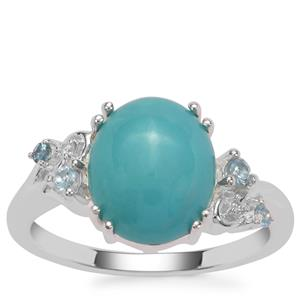 Sleeping Beauty Turquoise, Marambaia London Blue Topaz Ring with White Zircon in Sterling Silver 3.22cts