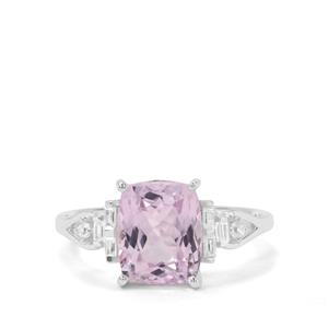 Natural Brazilian Kunzite & White Zircon Sterling Silver Ring ATGW 4.27cts