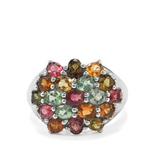 Rainbow Tourmaline Ring in Platinum Plated Sterling Silver 3.41cts