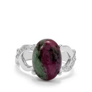 Ruby-Zoisite Ring with White Topaz in Sterling Silver 7.76cts