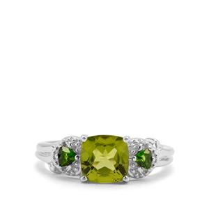 Red Dragon Peridot & Chrome Diopside Sterling Silver Ring ATGW 1.93cts