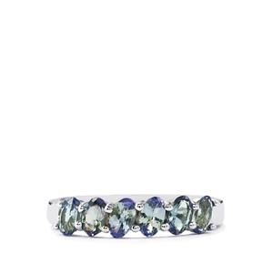Bi Color Tanzanite Ring in Sterling Silver 1.36cts