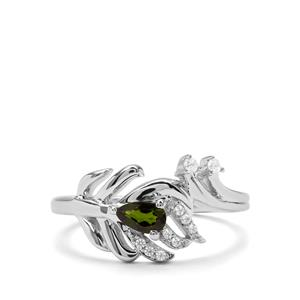Chrome Diopside & White Zircon Sterling Silver Ring ATGW 0.34cts