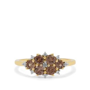 Bekily Colour Change Garnet Ring with White Zircon in 9K Gold 1.10cts