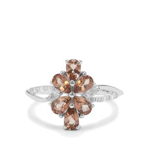 Sopa Andalusite Ring with White Zircon in Sterling Silver 1.39cts