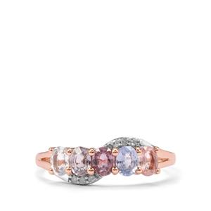 Natural Sakaraha Rainbow Sapphire Ring with Diamond in 9K Rose Gold 1.17cts