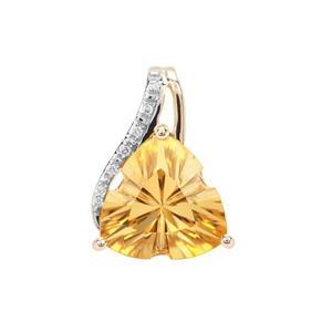 Lehrer Infinity Cut Diamantina Citrine Pendant with Diamond in 9K Gold 5.87cts