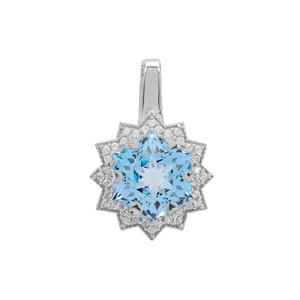 Wobito Snowflake Cut Sky Blue Topaz Pendant with White Zircon in 9K White Gold 5.80cts