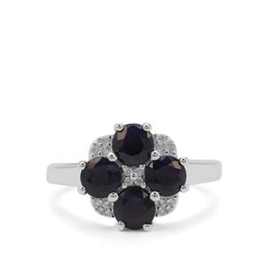 Madagascan Blue Sapphire & White Zircon Sterling Silver Ring ATGW 2.58cts