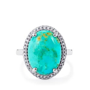 Cochise Turquoise & White Topaz Sterling Silver Ring ATGW 7.67cts