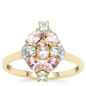 Aquaiba™ Beryl, Cherry Blossom™ Morganite Ring with Diamond in 9K Gold 1.08cts