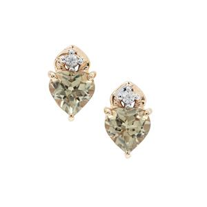 Csarite® Earrings with White Zircon in 9K Gold 1.65cts