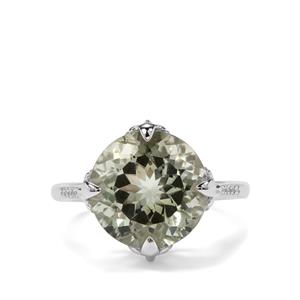 Prasiolite & White Zircon Sterling Silver Ring ATGW 6.60cts