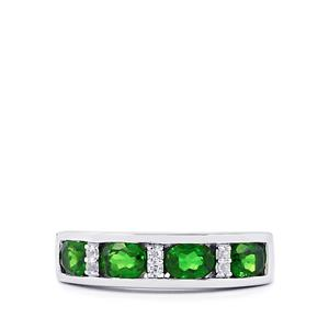 Chrome Diopside Ring with White Topaz in Sterling Silver 1.60cts
