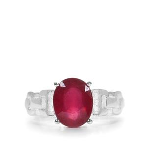 Malagasy Ruby Ring with White Zircon in Sterling Silver 4.16cts (F)