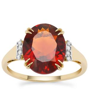 Madeira Citrine Ring with Diamond in 9K Gold 4.04cts