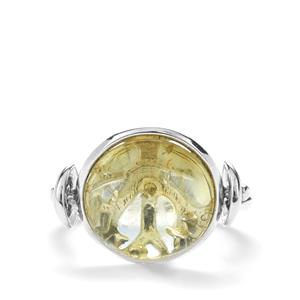 Baltic Champagne Amber Ring in Sterling Silver (13mm)