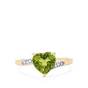 Changbai Peridot Ring with Diamond in 10K Gold 1.98cts