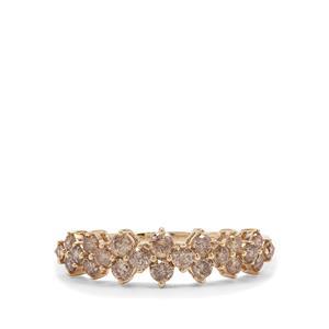 Champagne Diamond Ring in 9K Gold 0.79ct