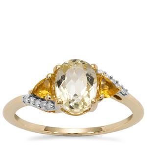 Minas Novas Hiddenite, Diamantina Citrine Ring with Diamond in 9K Gold 1.19cts