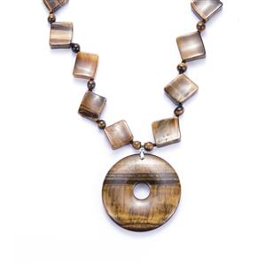 Yellow Tiger's Eye Necklace in Sterling Silver 417cts