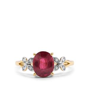 Malawi Garnet Ring with Diamond in 10K Gold 2.34cts