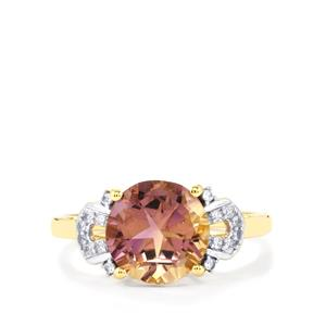 Anahi Ametrine Ring with White Zircon in 10k Gold 3cts