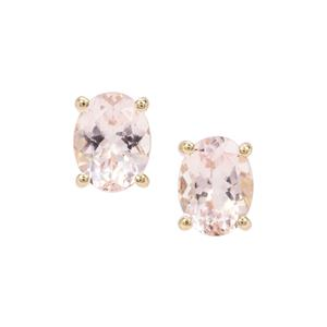 Nigerian Morganite Earrings in 9K Gold 2.25cts