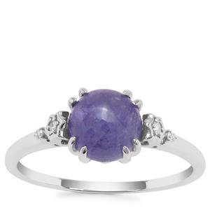 Tanzanite Ring with Diamond in 9K Gold White 1.92cts
