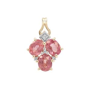 Padparadscha Sapphire Pendant with Diamond in 9K Gold 1.52cts
