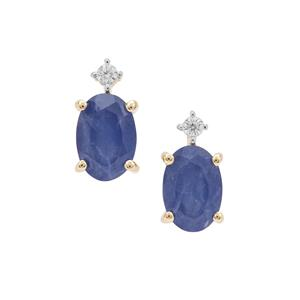 Burmese Blue Sapphire Earrings with White Zircon in 9K Gold 1.34cts