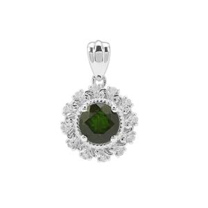 Chrome Diopside & White Zircon Sterling Silver Pendant ATGW 1.37cts