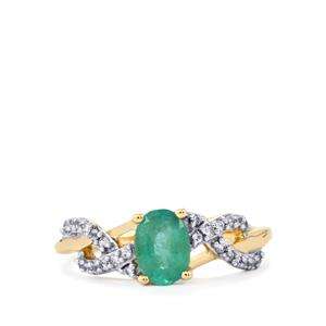 Zambian Emerald Ring with White Zircon in 10K Gold 0.86ct