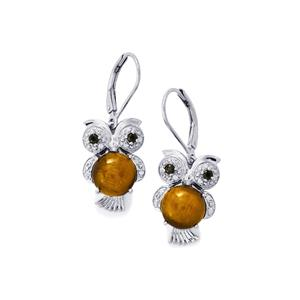 Tiger's Eye, Black Spinel Earrings with White Zircon in Sterling Silver 4.63cts