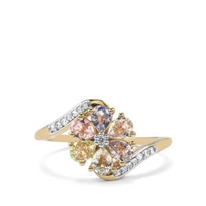 Natural Sakaraha Rainbow Sapphire Ring with White Zircon in 10K Gold 1.43cts