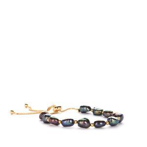 Black Baroque Cultured Pearl Slider Bracelet in Gold Tone Sterling Silver (7.50mm x 6.50mm)