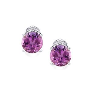 Lone Star Ametista Amethyst Earrings with White Topaz in Sterling Silver 4cts