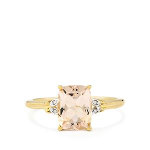 Mutala Morganite Ring with Diamond in 10k Gold 1.91cts