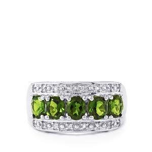 Chrome Diopside Ring with White Topaz in Sterling Silver 2.28cts