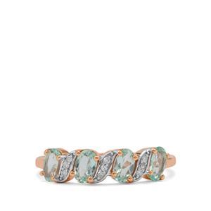 Aquaiba™ Beryl Ring with Diamond in 9K Rose Gold 0.85ct