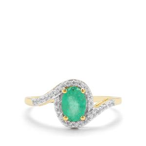 Colombian Emerald & White Zircon 9K Gold Ring ATGW 0.94ct
