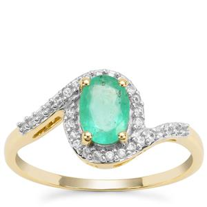 Colombian Emerald Ring with White Zircon in 9K Gold 0.94ct
