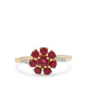 Burmese Ruby & Diamond 9K Gold Ring ATGW 1.14cts