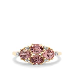 Mahenge Pink Spinel & Diamond 9K Gold Ring ATGW 1.46cts