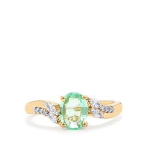Paraiba Tourmaline Ring with Diamond in 18K Gold 1.06cts