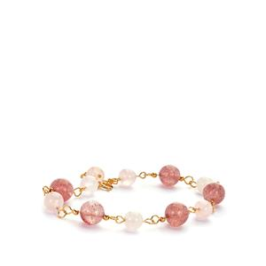 Strawberry Quartz Bracelet with Rose Quartz in Gold Tone Sterling Silver 26cts