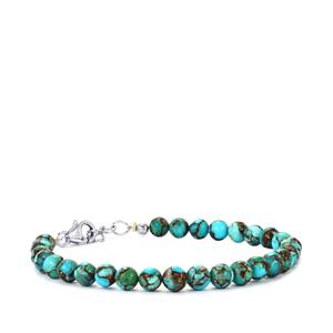 Egyptian Turquoise Graduated Bead Bracelet in Sterling Silver 33cts